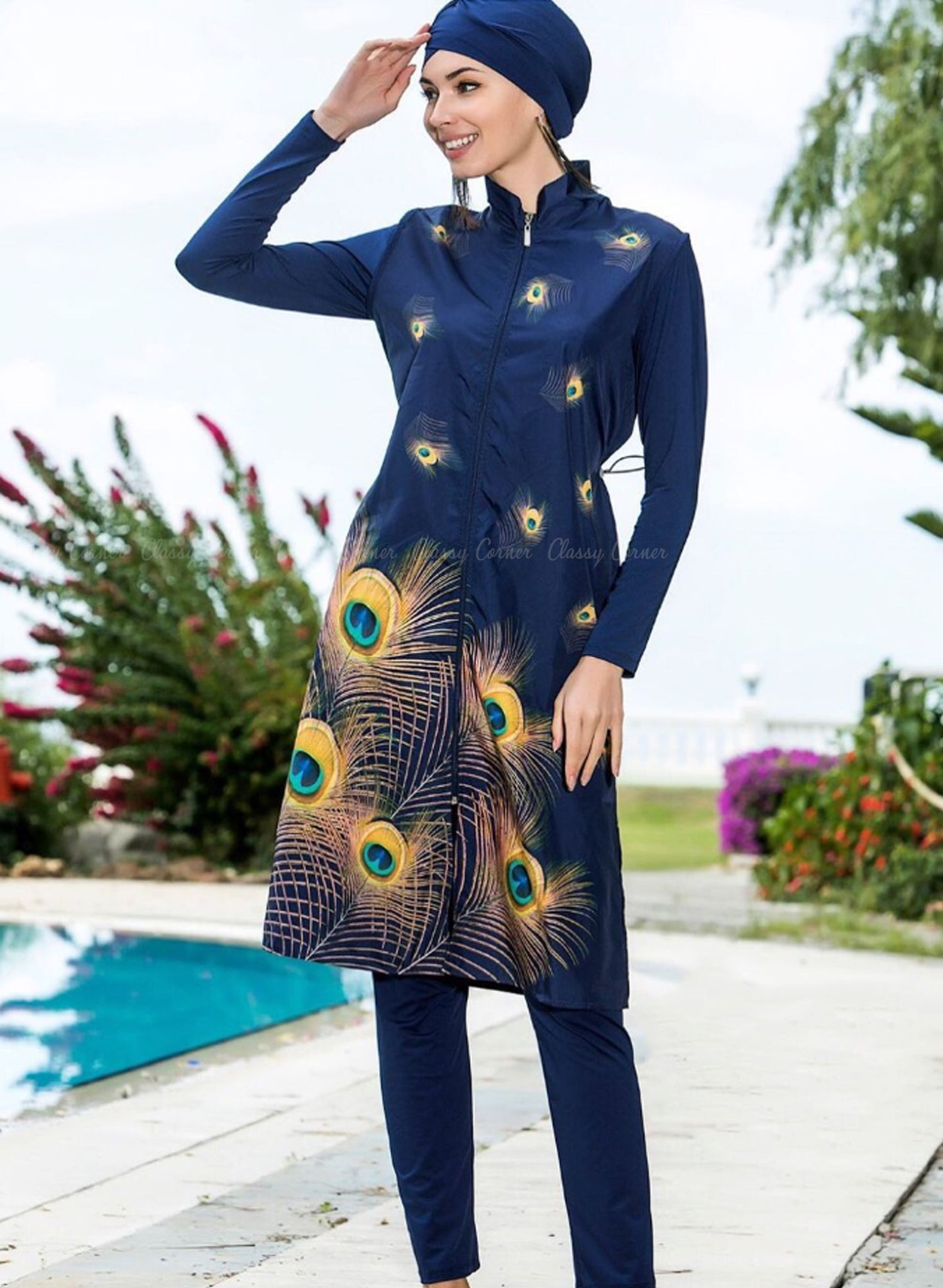 Yellow Peacock Feathers Navy Blue Full Bodysuit Swimsuit