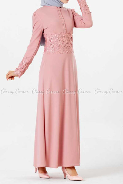 Embroidery Patch and Pearl Beads Pink Modest Long Dress - left side details