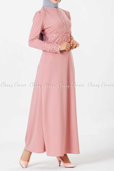 Embroidery Patch and Pearl Beads Pink Modest Long Dress - left side view
