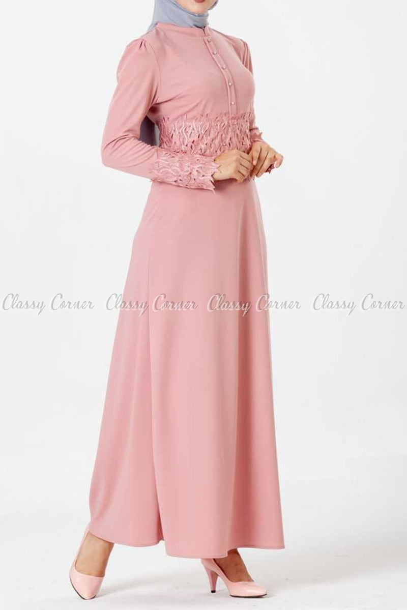 Embroidery Patch and Pearl Beads Pink Modest Long Dress