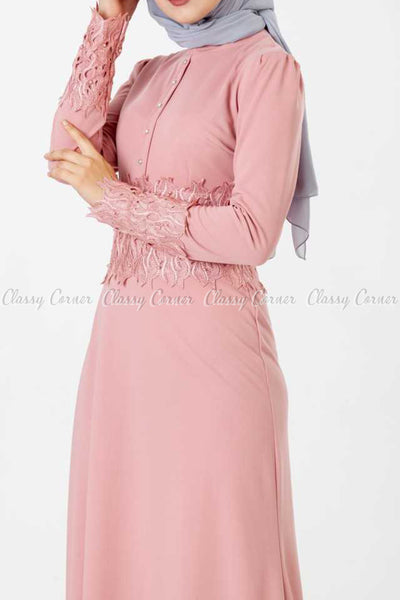 Embroidery Patch and Pearl Beads Pink Modest Long Dress - right side details