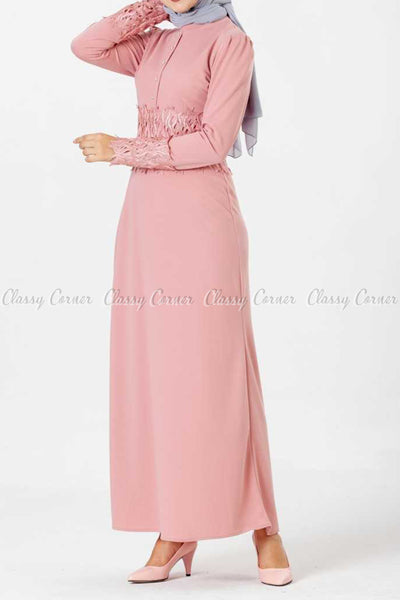 Embroidery Patch and Pearl Beads Pink Modest Long Dress - right side view