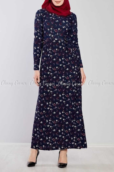 Fine Floral Prints Navy Blue Modest Long Dress - full front view