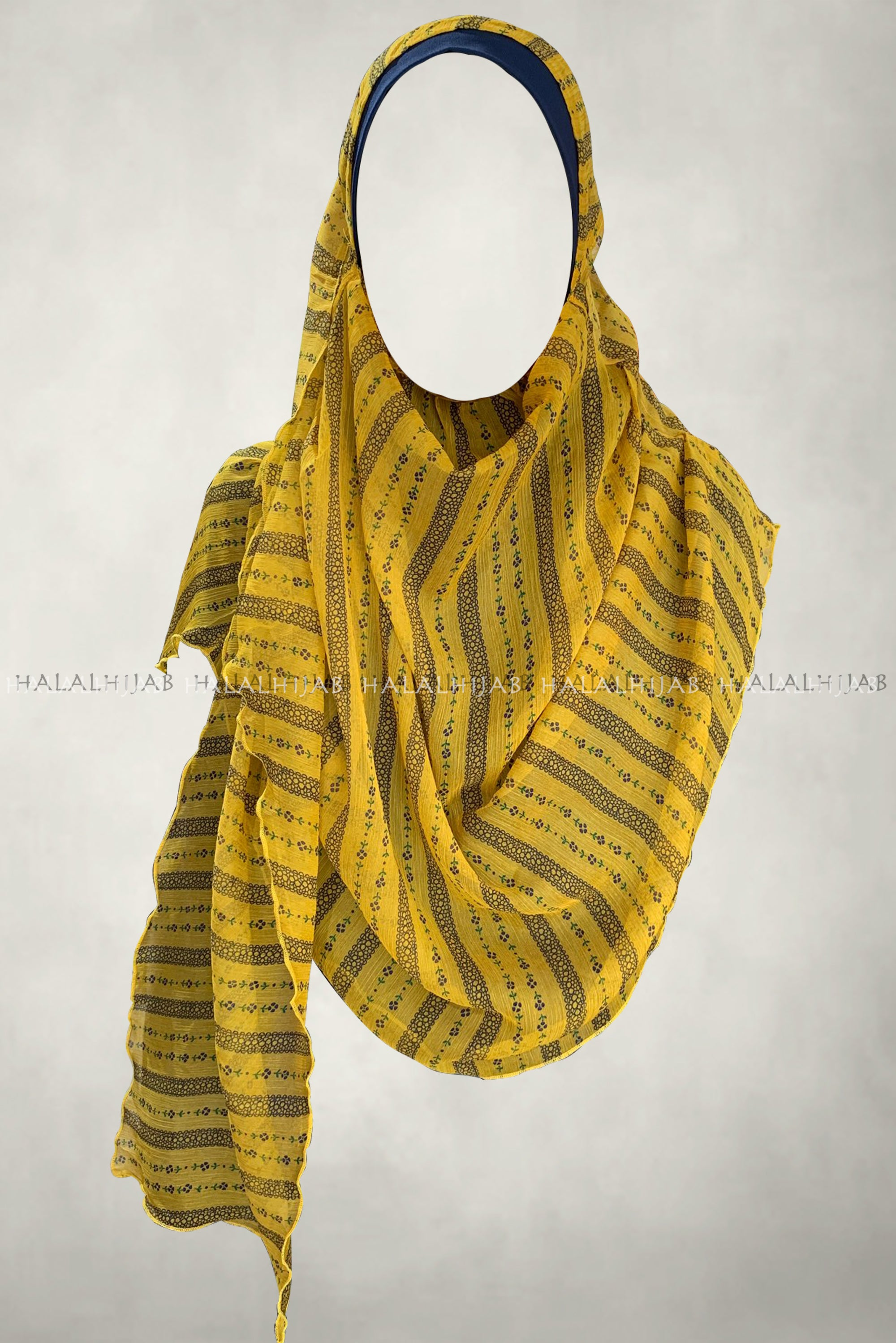 Fine Floral Stripes Yellow Comfy Instant Hijab