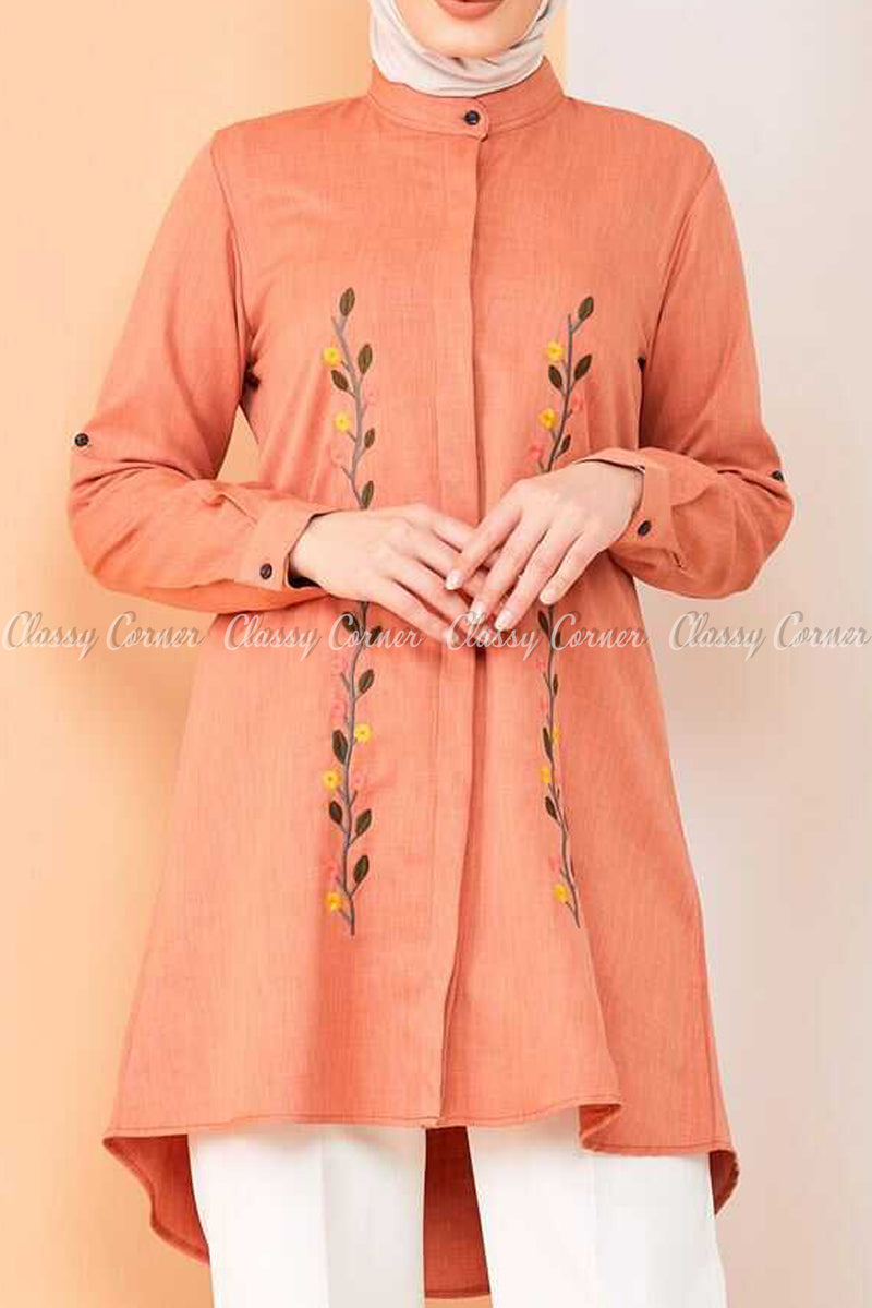 Floral Embroidery Orange Modest Tunic Dress