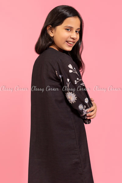 Floral Embroidery Sleeves Black Kids Salwar Kameez - back view