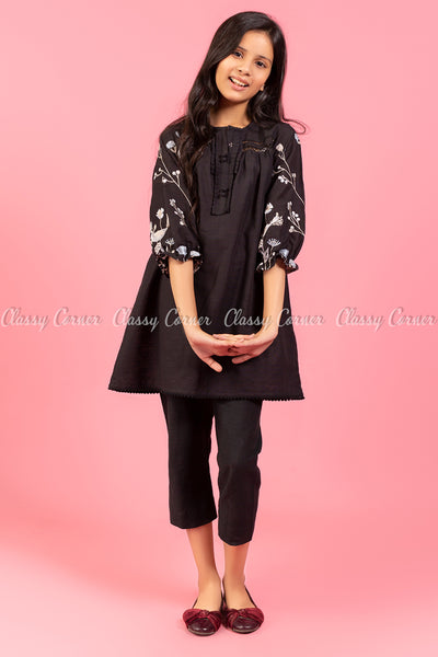 Floral Embroidery Sleeves Black Kids Salwar Kameez - front details