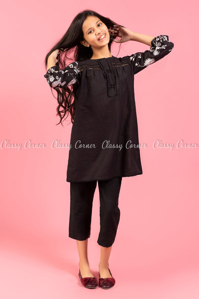 Floral Embroidery Sleeves Black Kids Salwar Kameez - front view