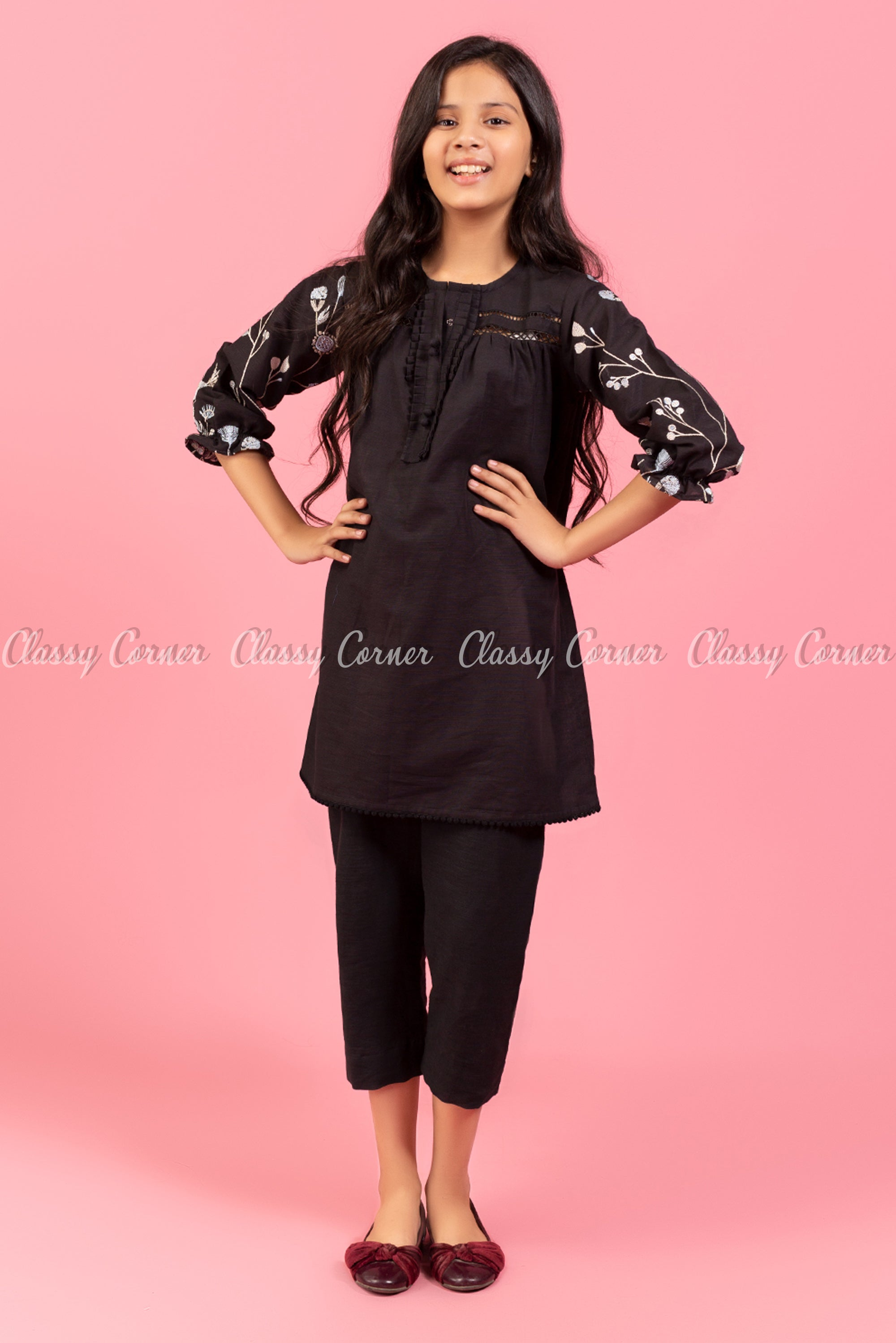 Floral Embroidery Sleeves Black Kids Salwar Kameez
