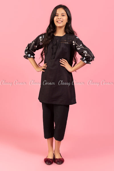 Floral Embroidery Sleeves Black Kids Salwar Kameez - full front view
