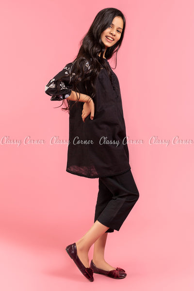 Floral Embroidery Sleeves Black Kids Salwar Kameez - side view