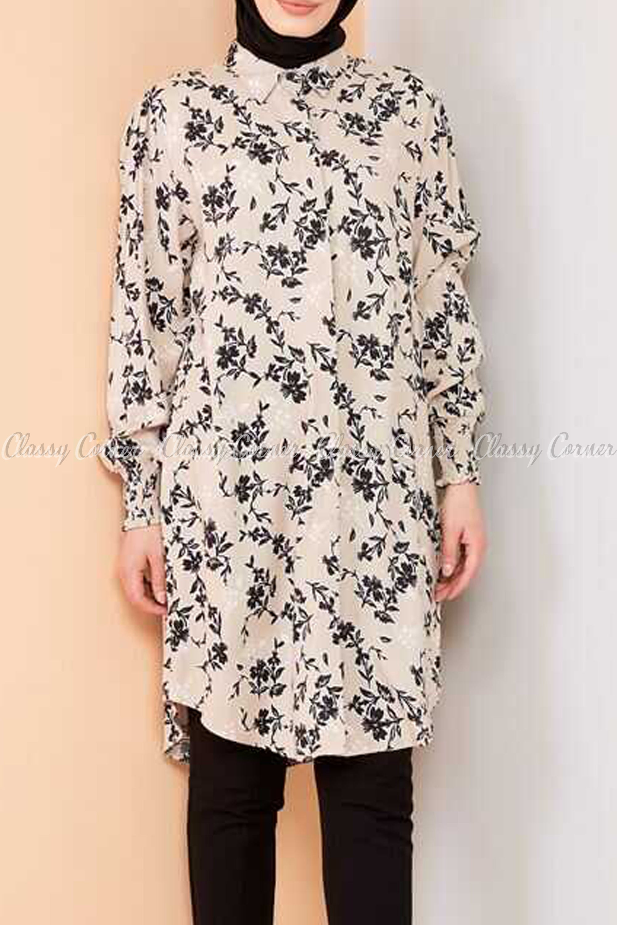 Floral Print Beige Modest Tunic Dress