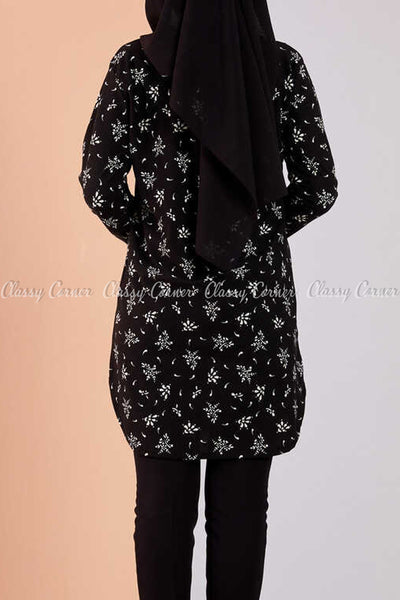 Floral Print Black Modest Tunic Dress - back view