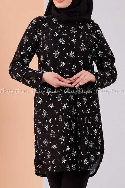 Floral Print Black Modest Tunic Dress - front view