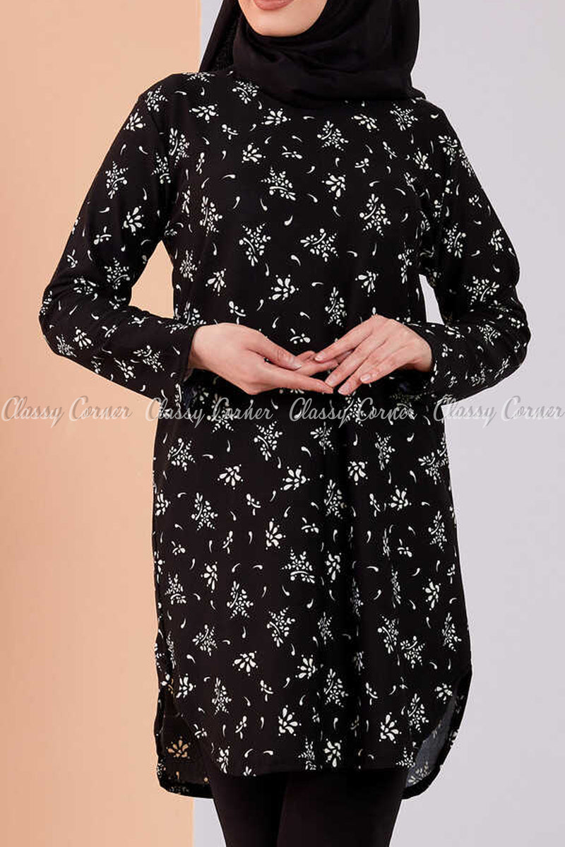 Floral Print Black Modest Tunic Dress