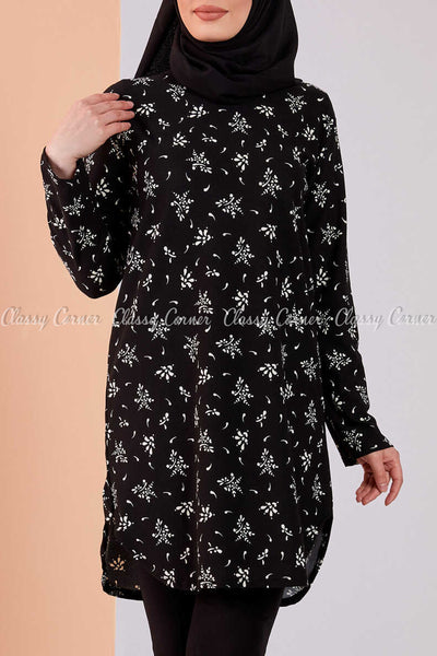 Floral Print Black Modest Tunic Dress - full front view