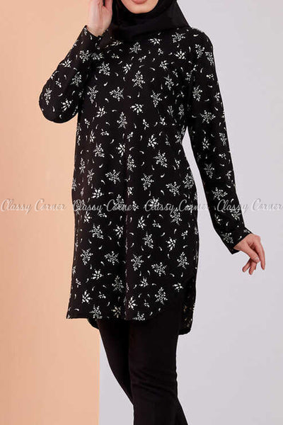 Floral Print Black Modest Tunic Dress - side view