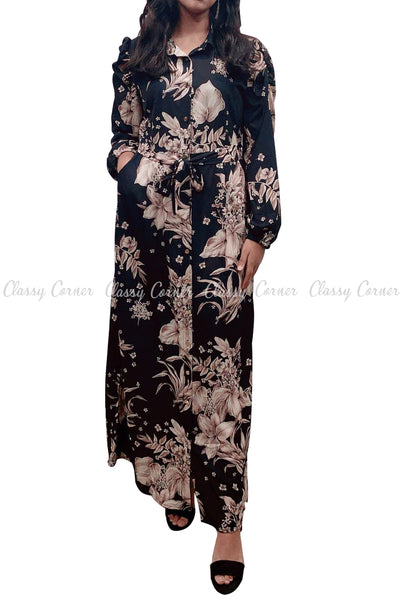 Floral Print Neutral Colour and Black Modest Long Dress - full front view