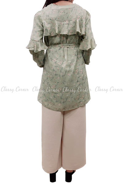 Floral Print Ruffle Sleeves Green Modest Tunic Dress - back view