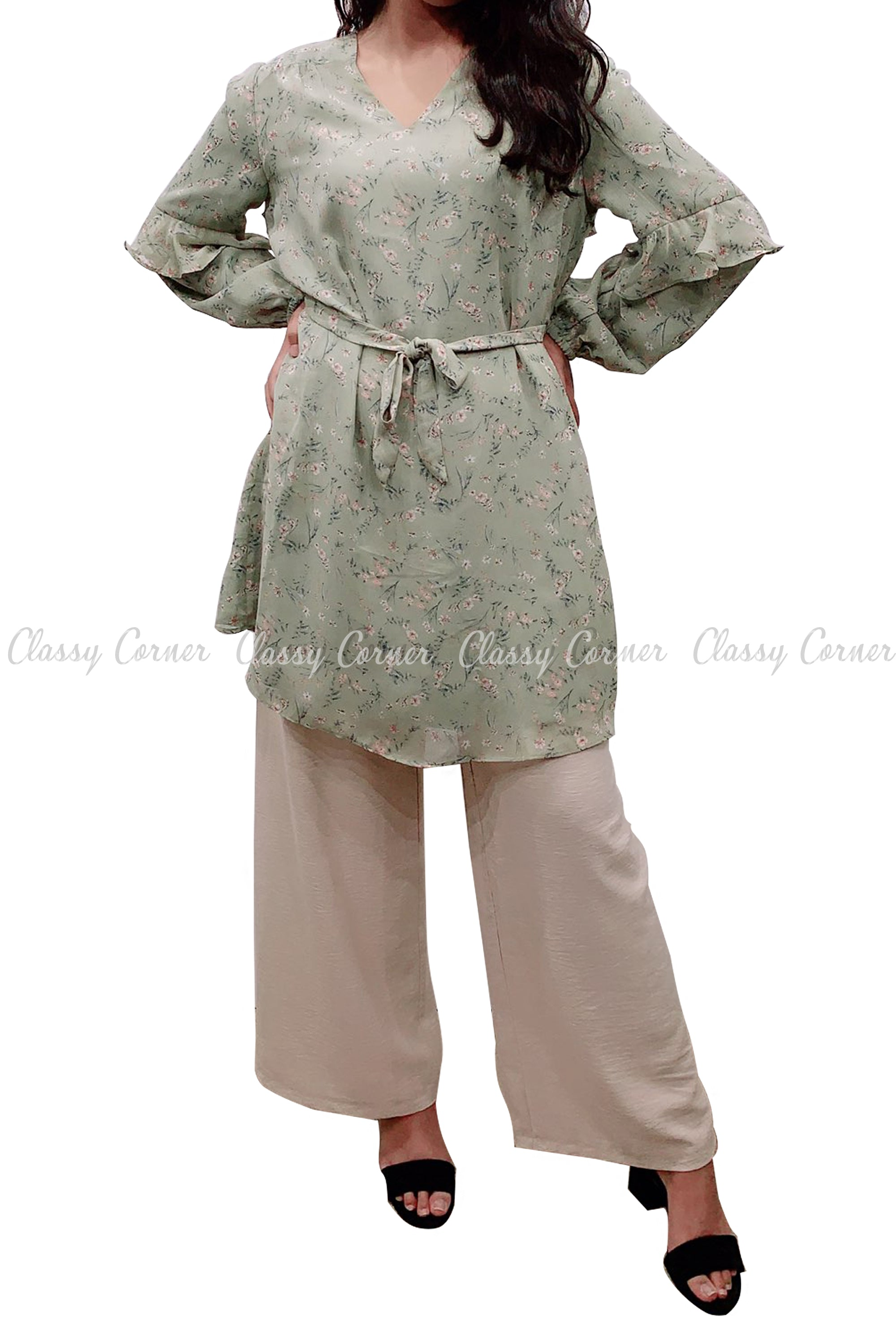 Floral Print Ruffle Sleeves Green Modest Tunic Dress