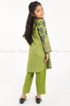 Floral and Elephant Print Green Kids Salwar Kameez - back view