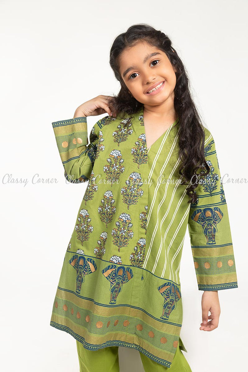 Floral and Elephant Print Green Kids Salwar Kameez