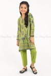 Floral and Elephant Print Green Kids Salwar Kameez - full front view