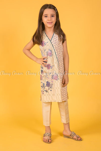 Floral and Geometric Embroidery Design Yellow Kids Salwar Kameez - full front view
