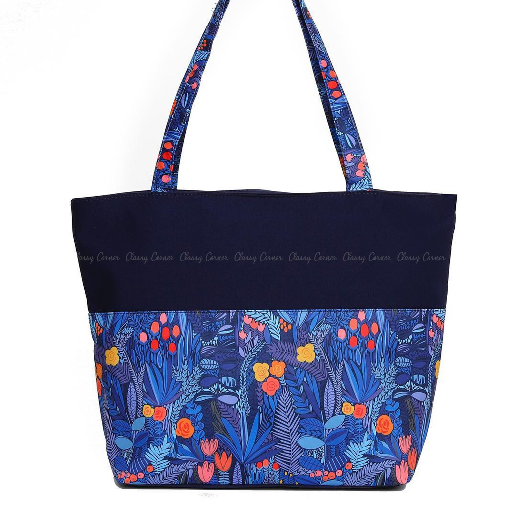 Multicolour Floral Leafy Print with Zipper Navy Blue Beach Tote Bag