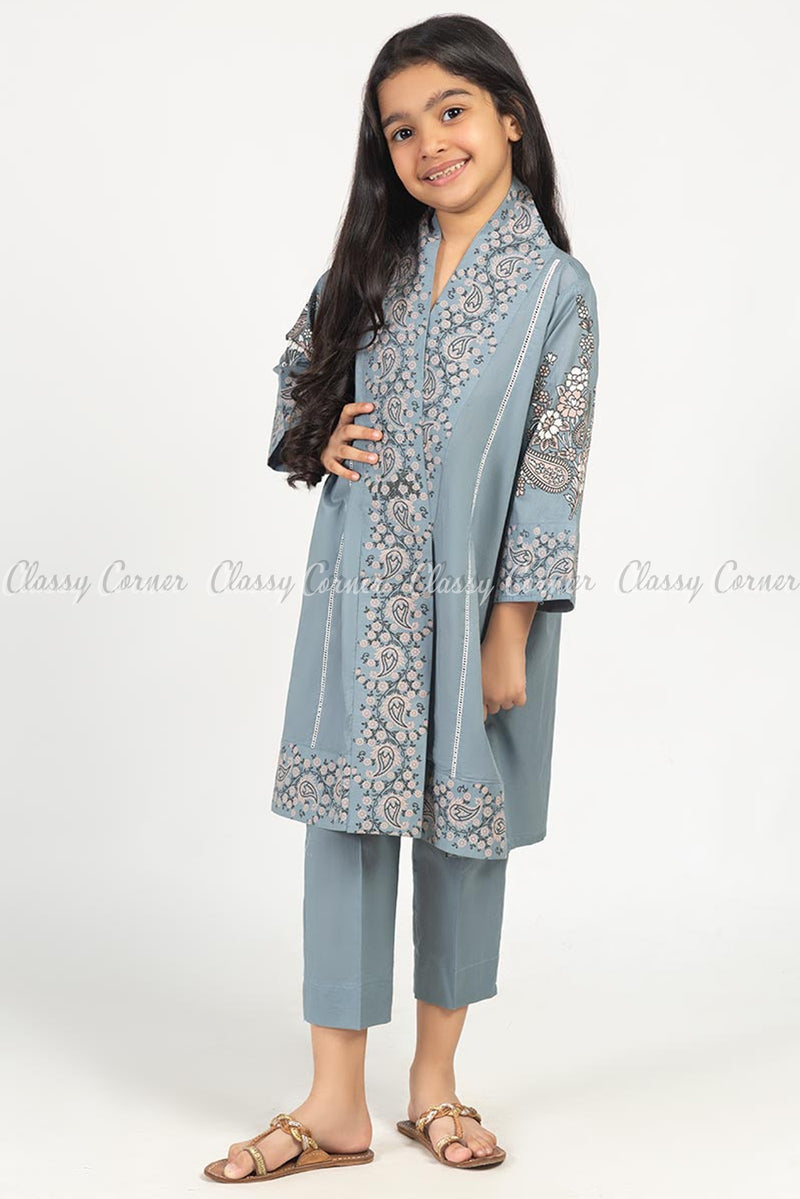 Floral and Paisley Print Grey Kids Salwar Kameez