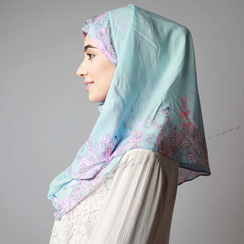 Fresh Sky Blue Pink Floral Border Print Two Piece Instant Hijab