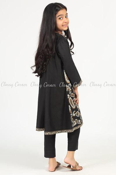 Giant Paisley Print Black Kids Salwar Kameez - back view