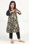 Giant Paisley Print Black Kids Salwar Kameez - full front view