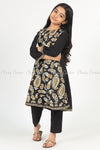 Giant Paisley Print Black Kids Salwar Kameez - side view