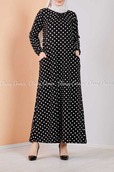 Giant Polka Dots Black Modest Long Dress - front view