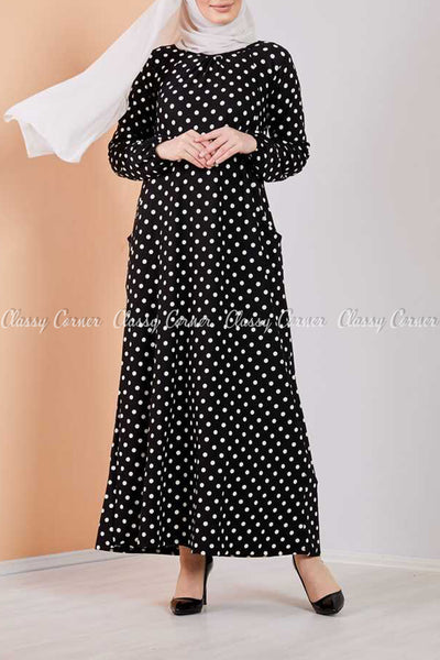 Giant Polka Dots Black Modest Long Dress - full front view