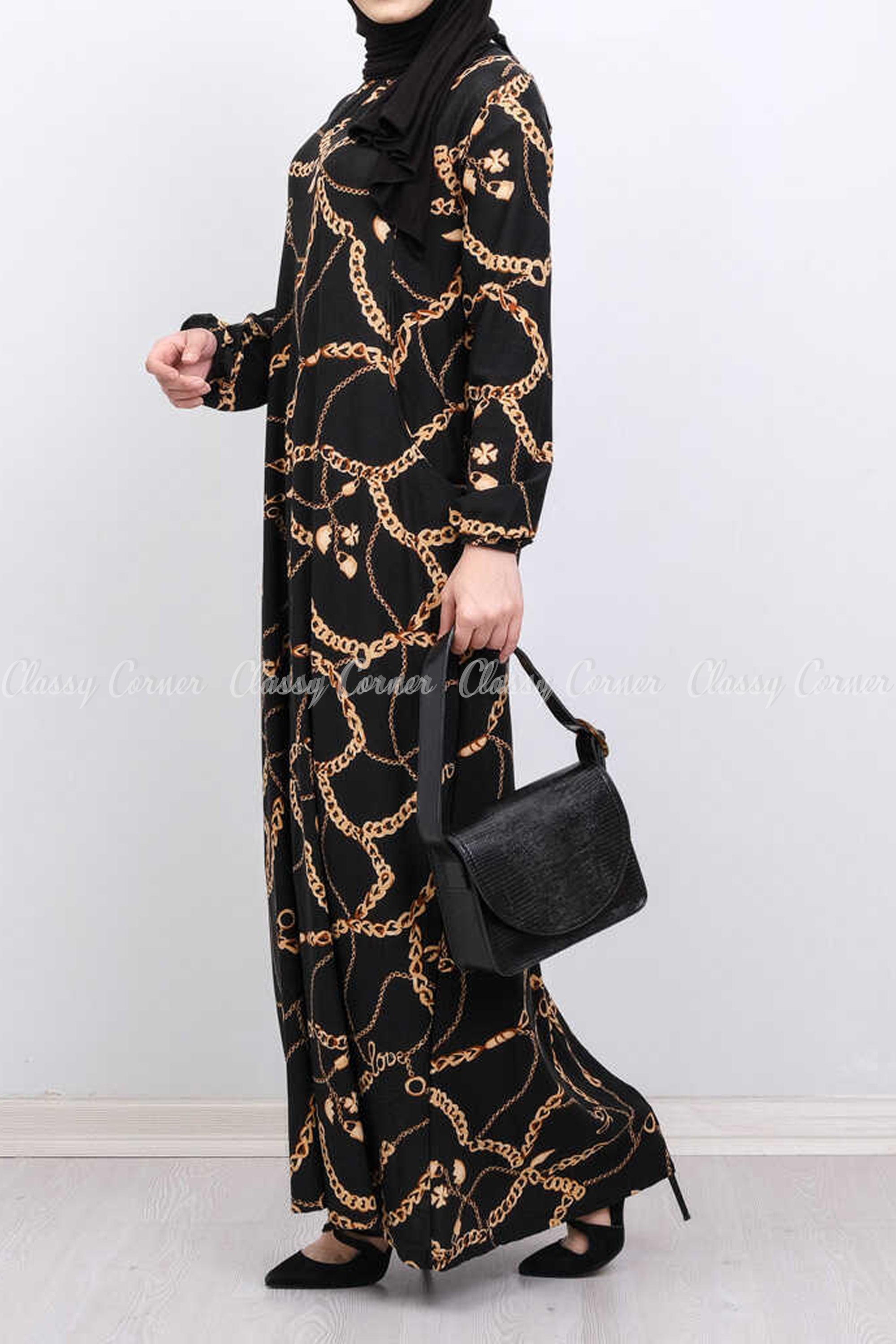 Gold Chain Print Black Modest Long Dress