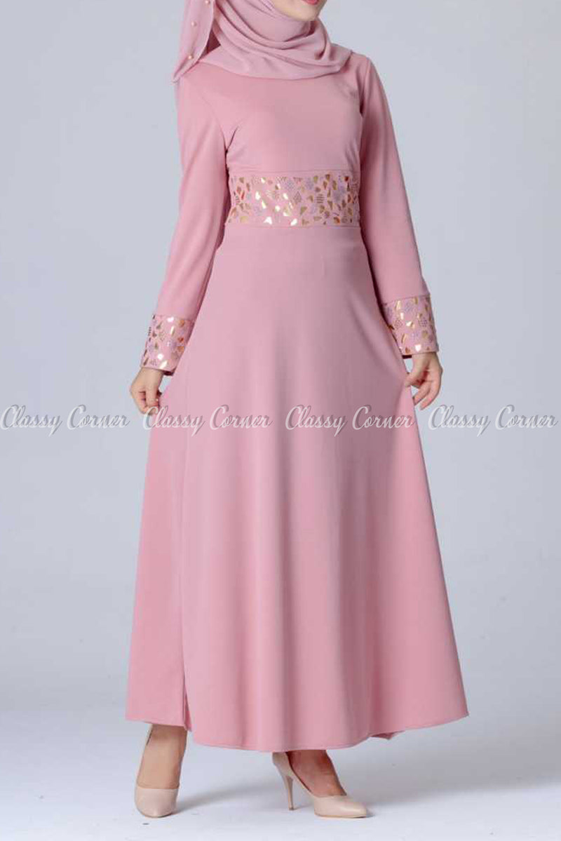 Gold and Silver Design Pink Modest Long Dress