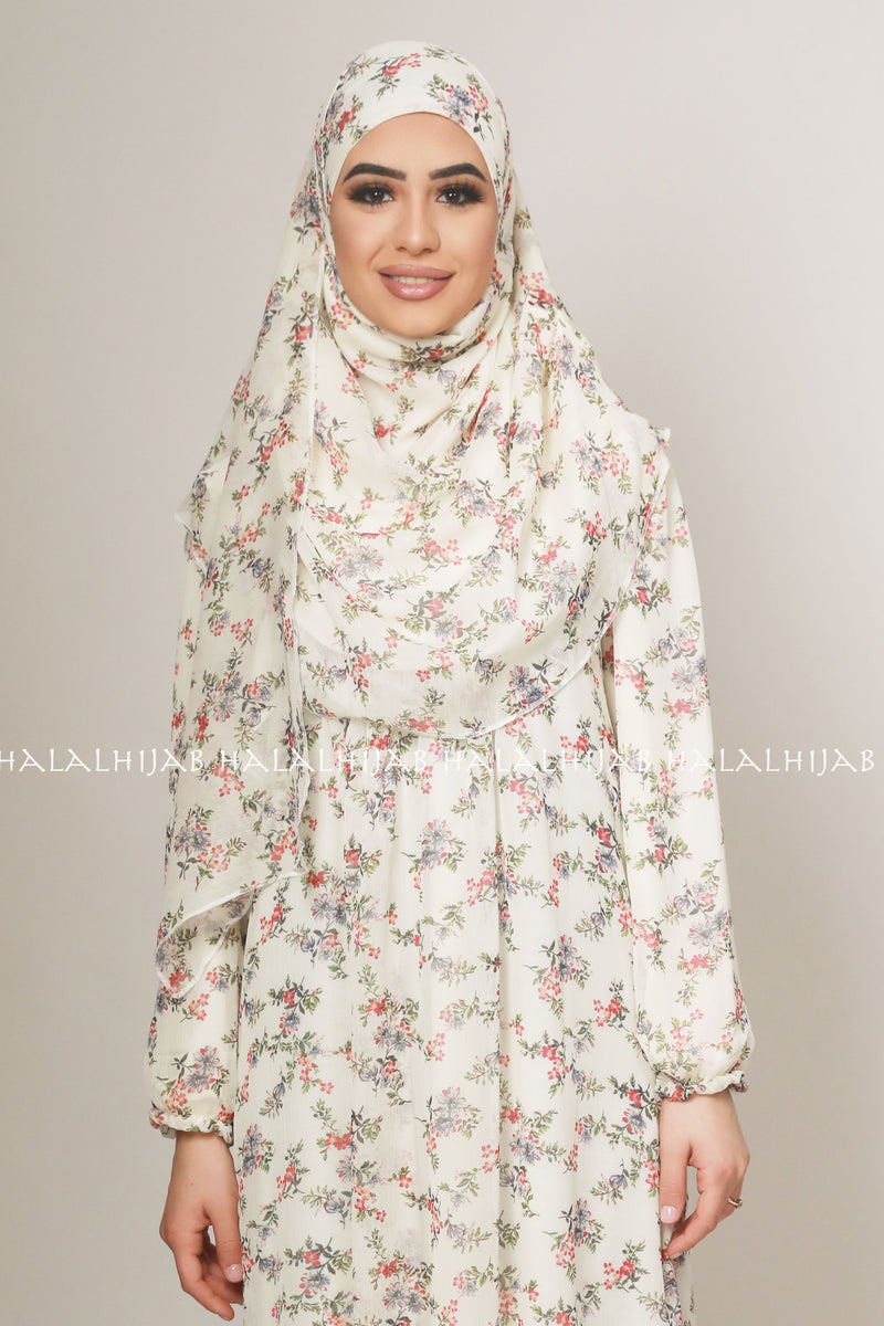 White Red Floral Print Chiffon Instant Pin-Free Multi Style Hijab