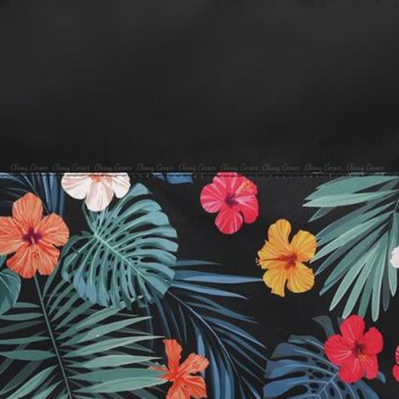 Multicolour Hawaiian Prints with Zipper Black Beach Tote Bag