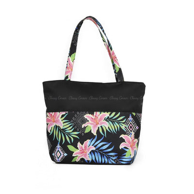Multicolour Hawaiian and Aztec Prints with Zipper Black Beach Tote Bag