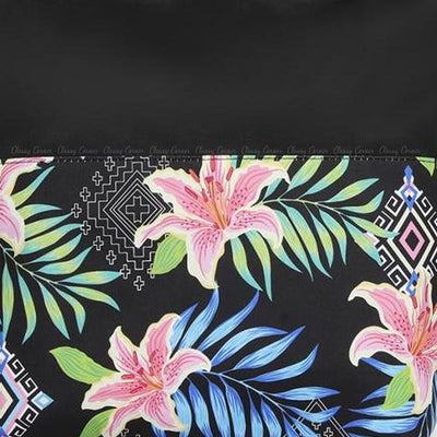 Multicolour Hawaiian and Aztec Prints with Zipper Black Beach Tote Bag Closed Up