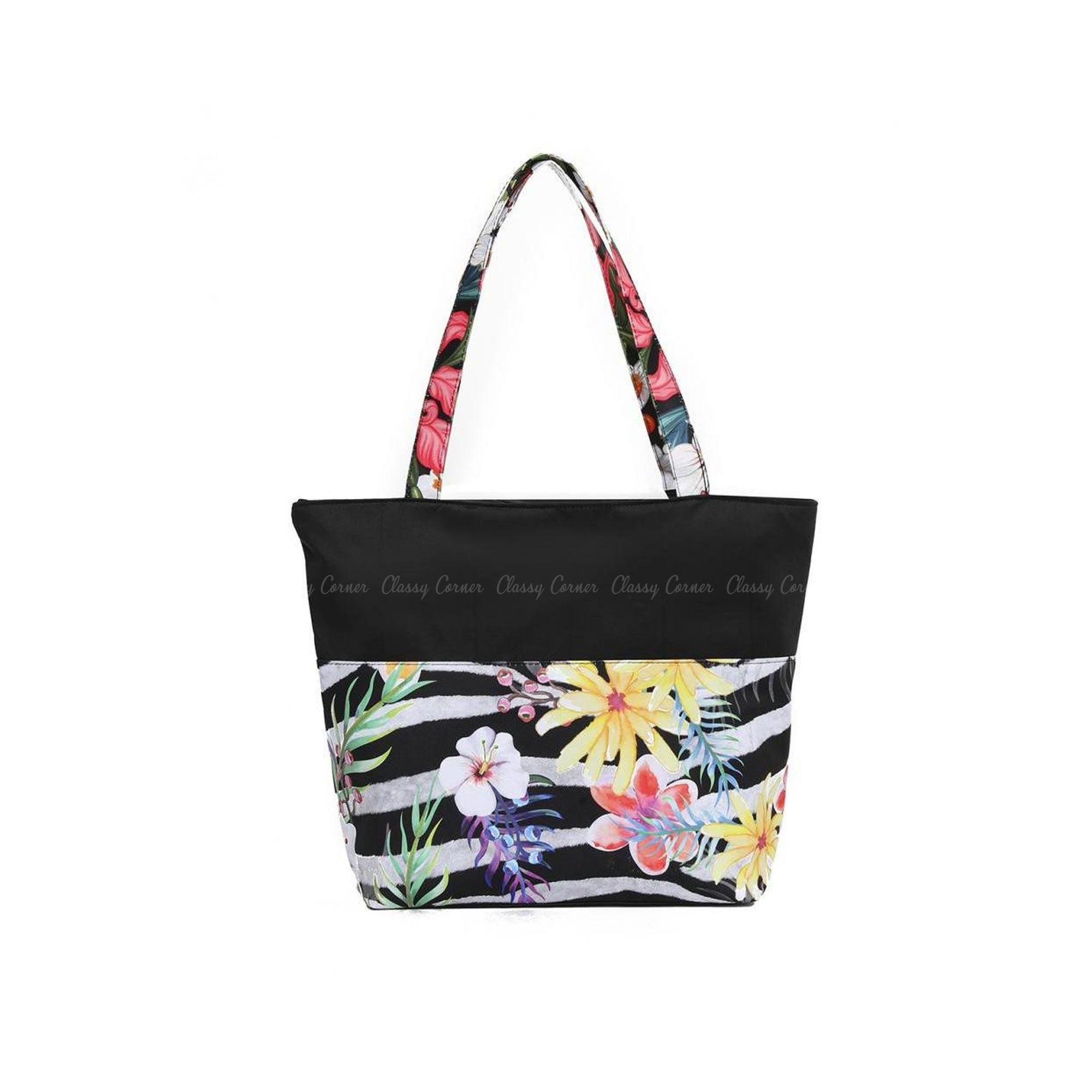 Multicolour Hawaiian and Zebra  Prints with Zipper Black Beach Tote Bag