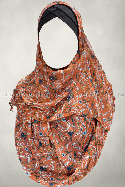 Hena Orange Blue Floral Soft Chiffon Instant Hijab - front view