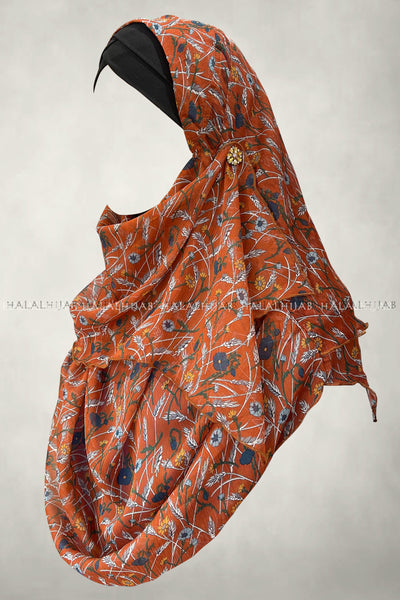 Hena Orange Blue Floral Soft Chiffon Instant Hijab - right side view