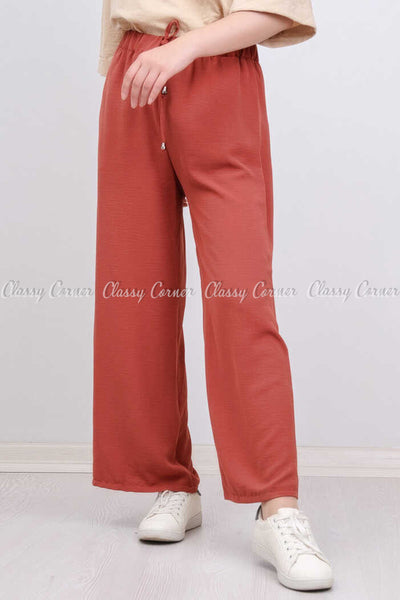 Elastic Waist Apple Red Modest Comfy Pants - front view
