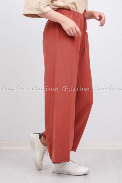 Elastic Waist Apple Red Modest Comfy Pants - left side view