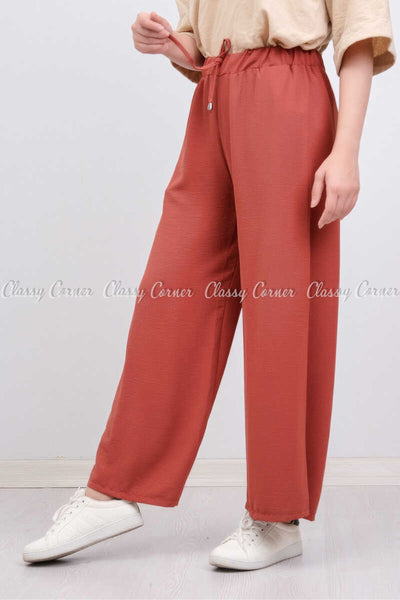 Elastic Waist Apple Red Modest Comfy Pants - right side view