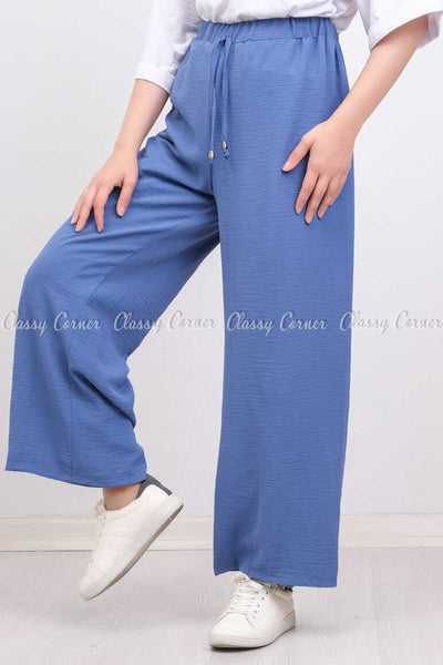Elastic Waist Blue Modest Comfy Pants - right side view