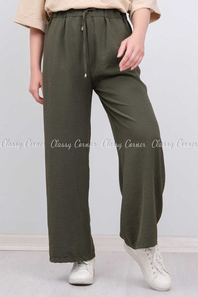 Elastic Waist Green Modest Comfy Pants - front view